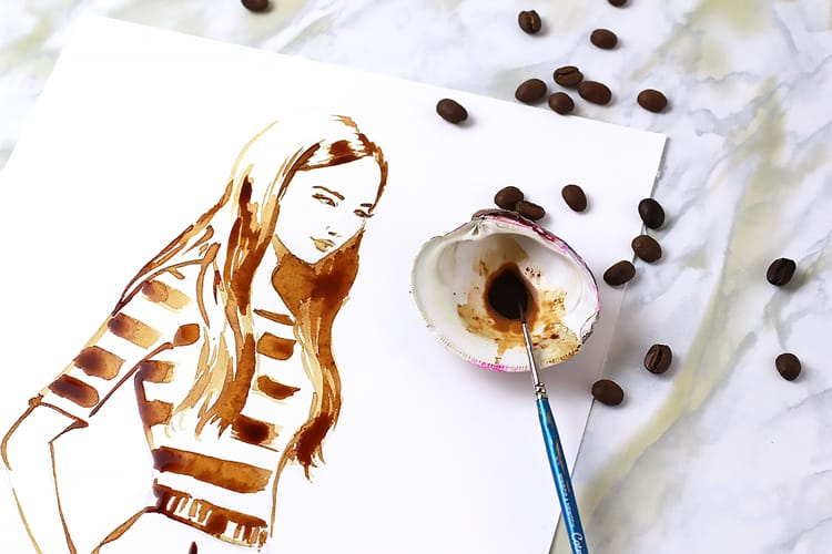 coffee illustration, how to paint with coffee