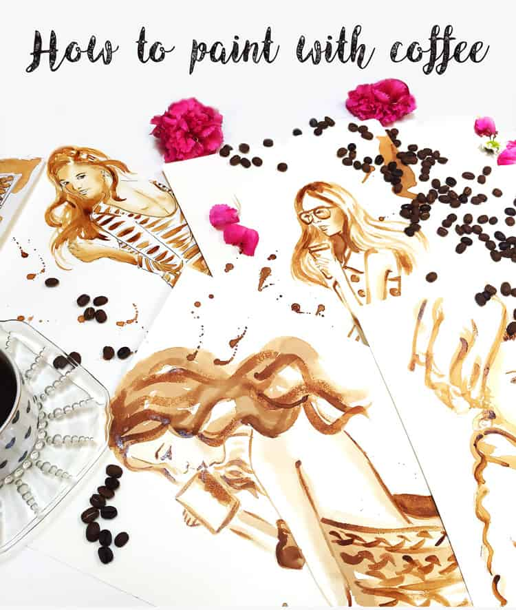 how to paint with coffee, art tutorial by Elena Fay