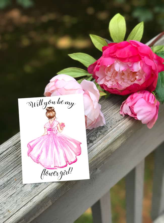 watercolor illustration, flower girl invitation