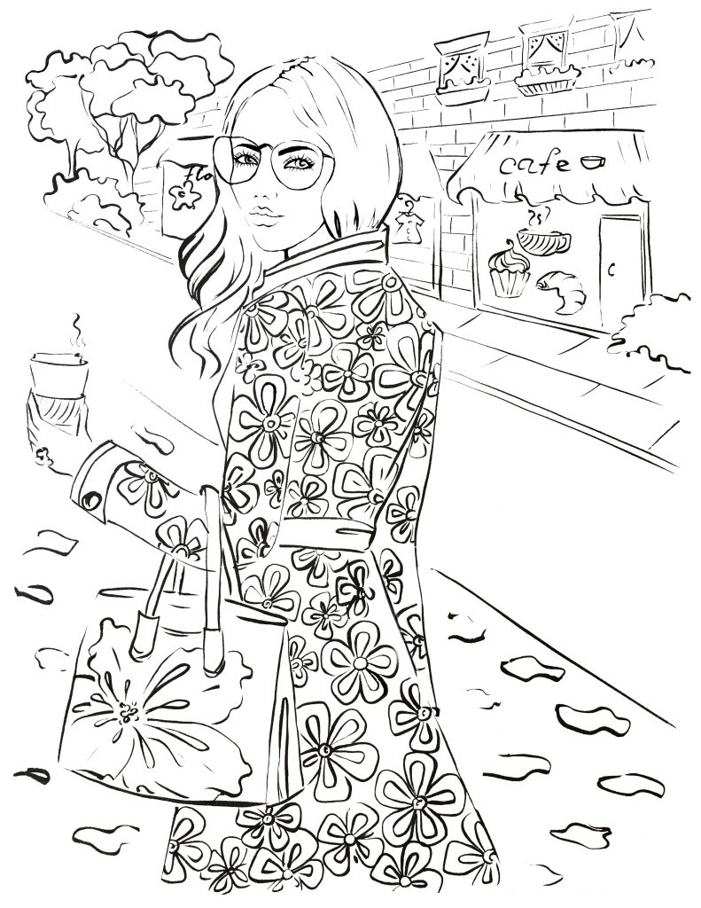 Fashion coloring page, free coloring page