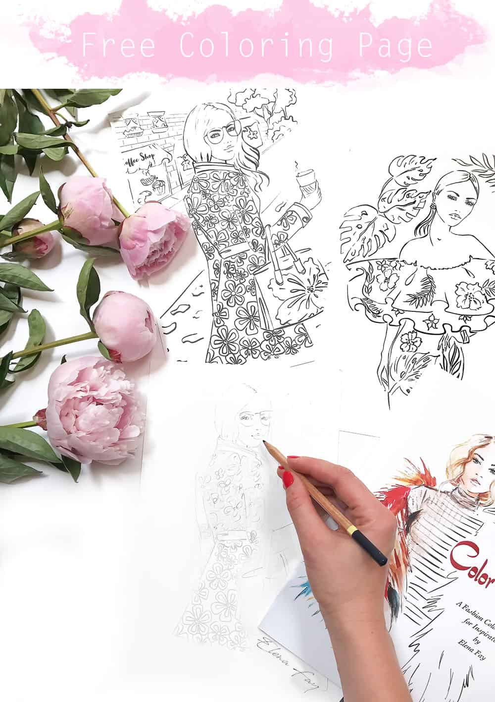 free coloring page, fashion coloring page