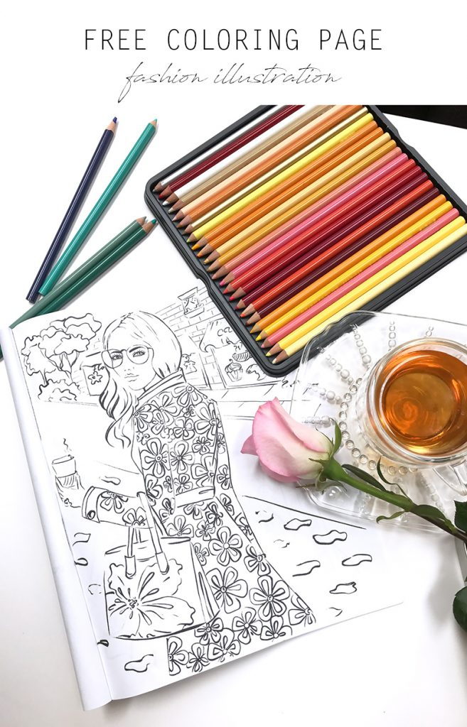 free coloring page, fashion coloring page, adult coloring book