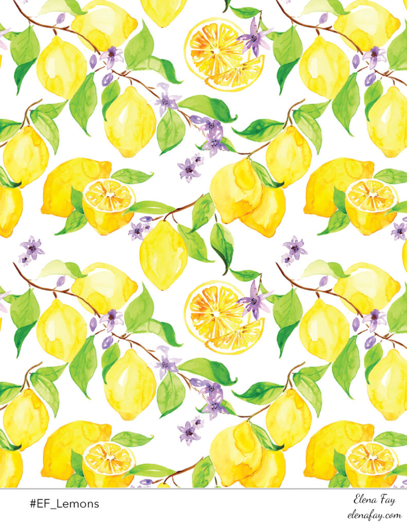 lemons surface pattern design by Elena Fay