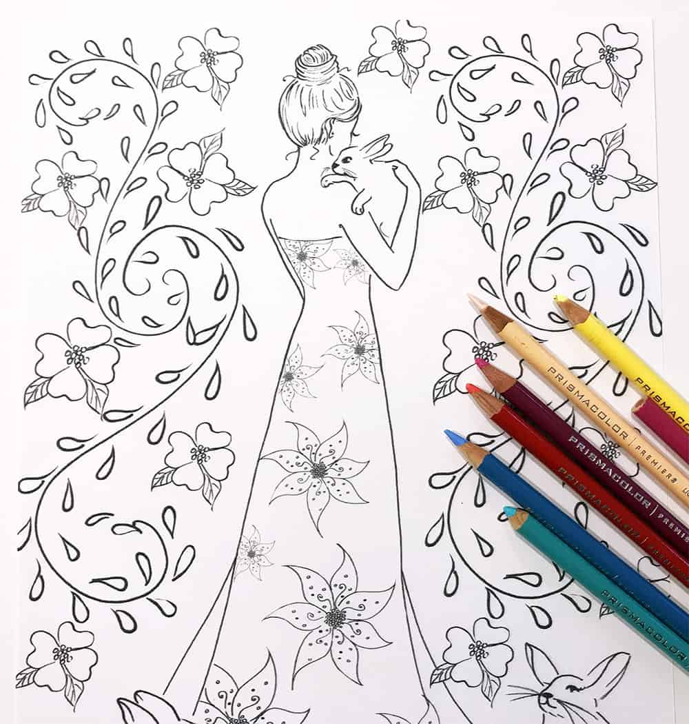 free coloring page, easter bunnies coloring, fashion coloring page