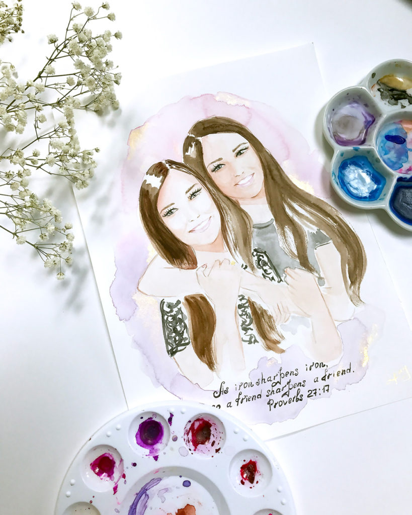 friends custom portrait, custom illustration
