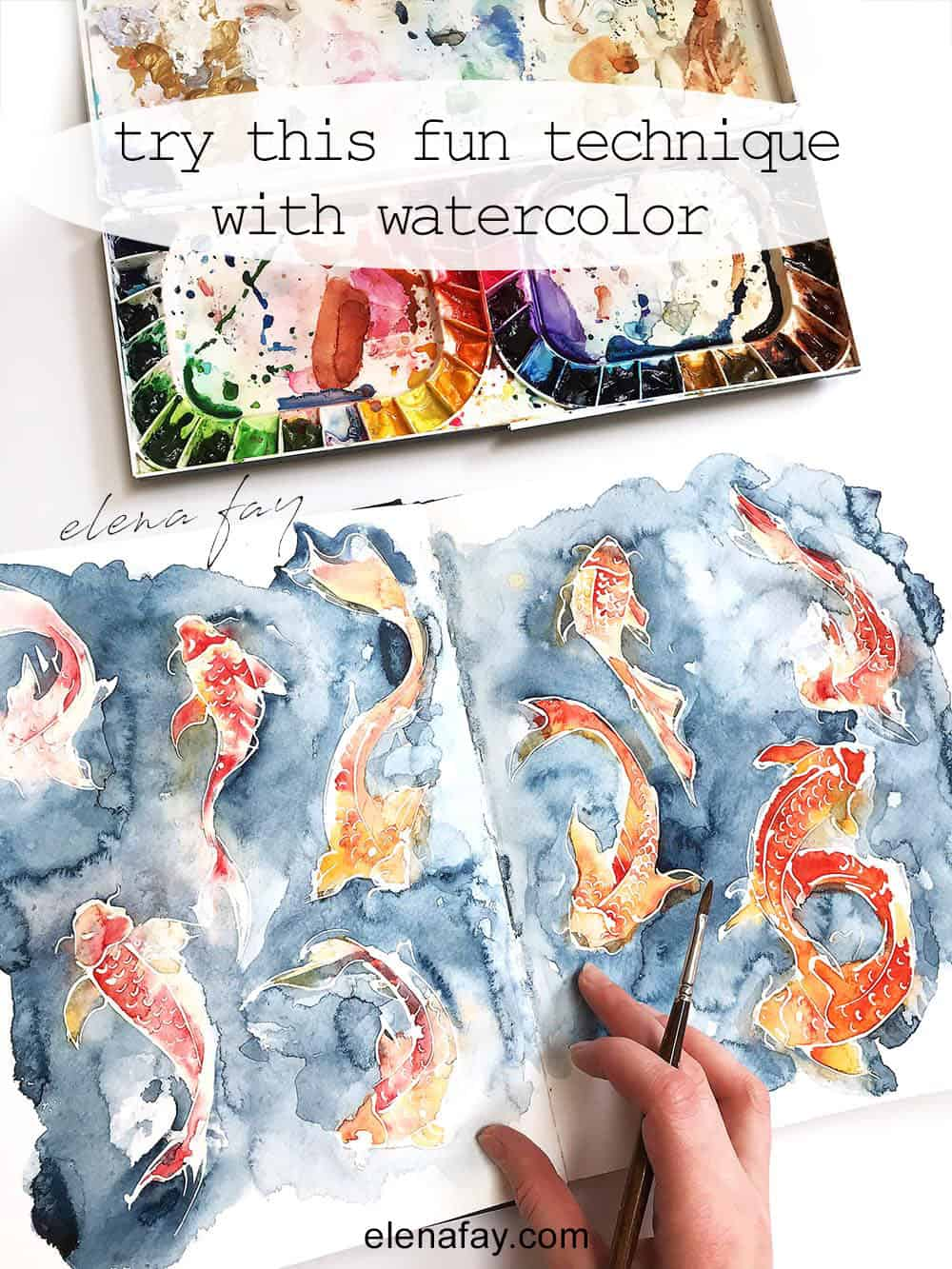resist technique with watercolor, watercolor art by Elena Fay