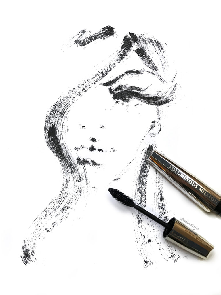 fashion illustration created with mascara