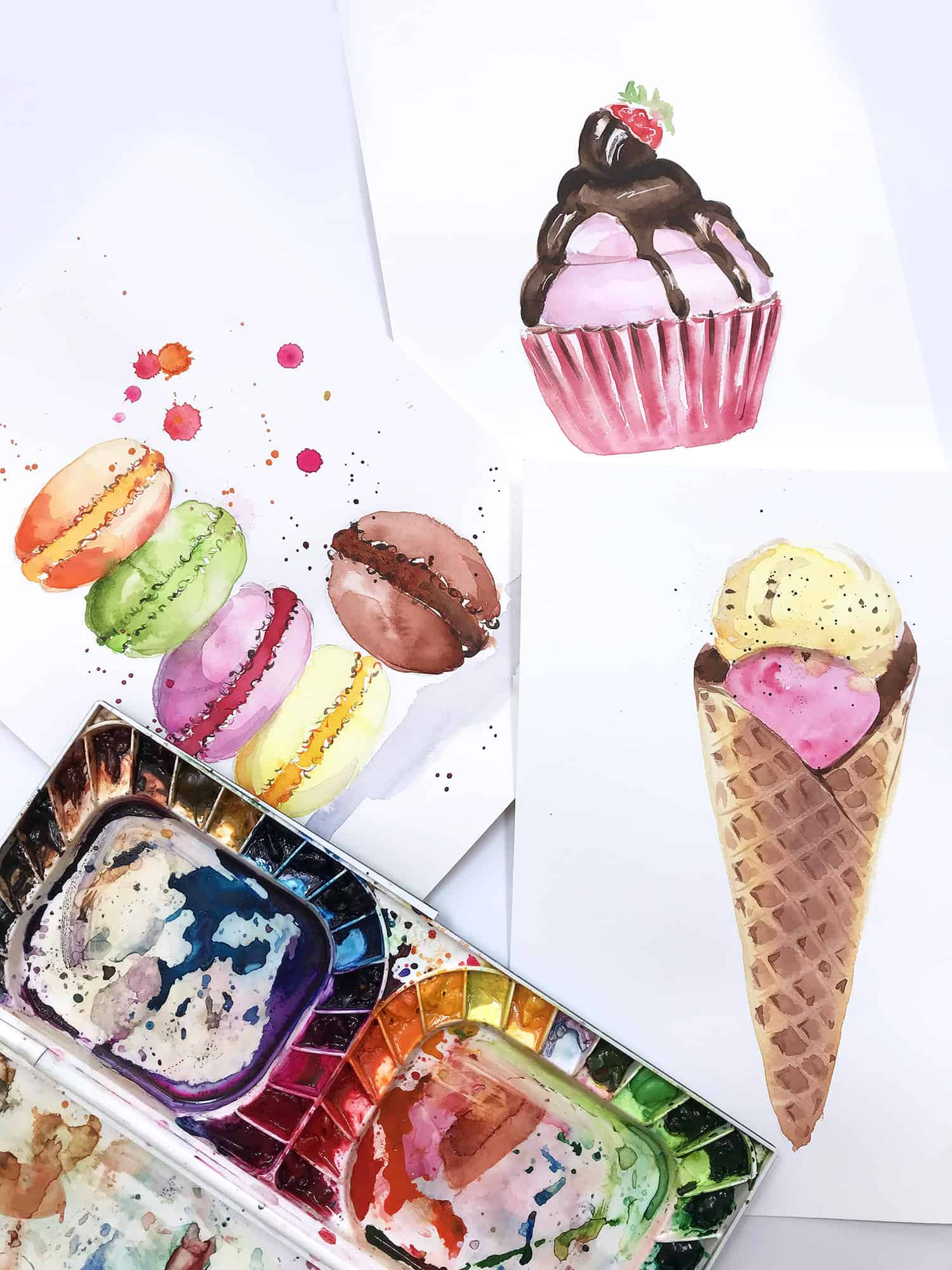 Watercolor for Beginners. Watercolor Tips for Beginners. How to paint Ice Cream cone with Watercolor