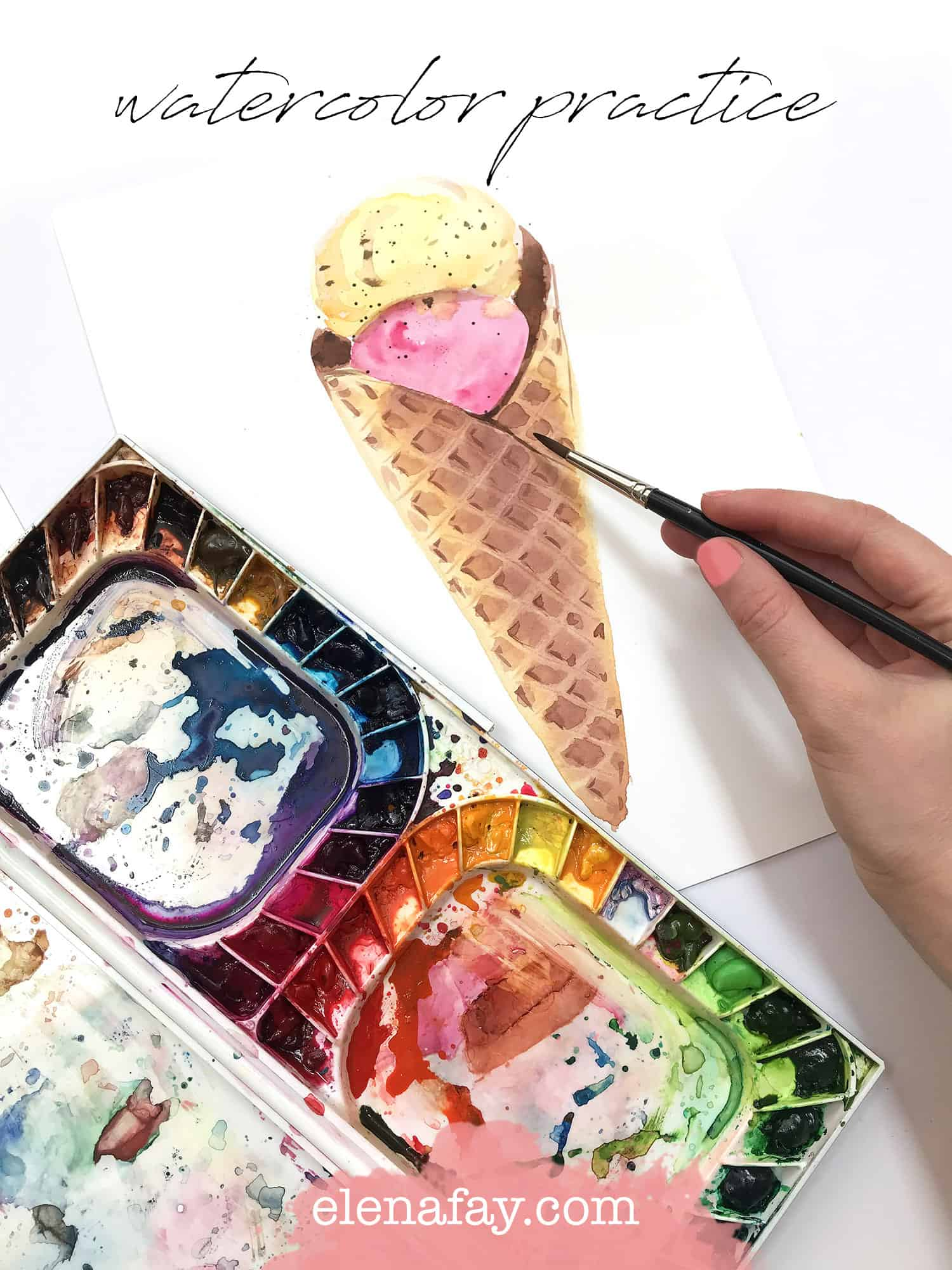 ice cream cone with watercolor